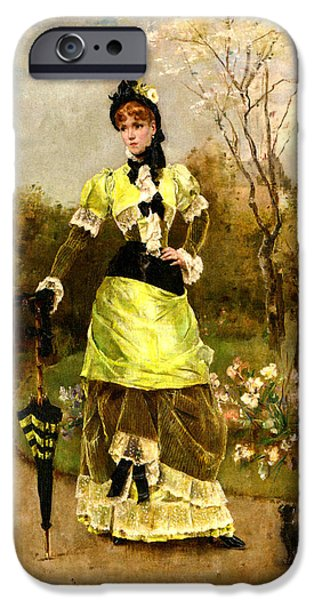 Dog In Landscape Digital iPhone Cases - Sa Majeste La Parisienne iPhone Case by Alfred Stevens