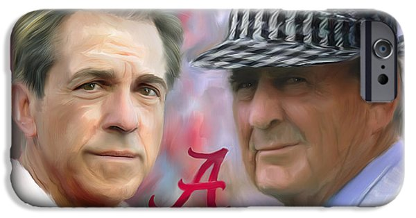 Sport Paintings iPhone Cases - Saban and Bear iPhone Case by Mark Spears