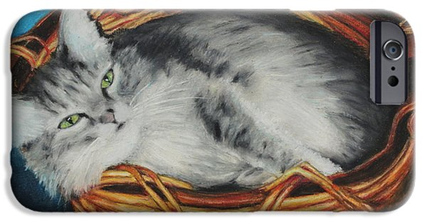 Gray Hair iPhone Cases - Sabrina In Her Basket iPhone Case by Jeanne Fischer
