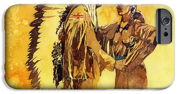 Sisters Paintings iPhone Cases - Sacagawea Greeting her Brother iPhone Case by Matthew Frey