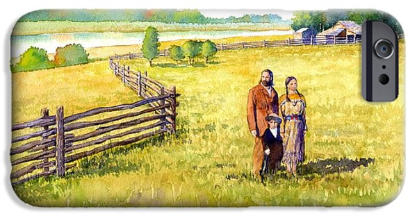 Western Landscape iPhone Cases - Sacagawea Her Husband and Son at their Farm iPhone Case by Rob Wood