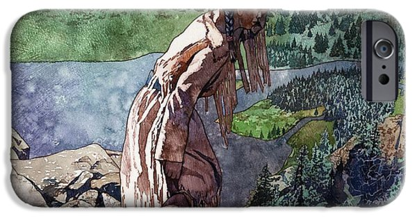 Aerial View iPhone Cases - Sacagawea Looking Out Over the Landscape iPhone Case by Matthew Frey