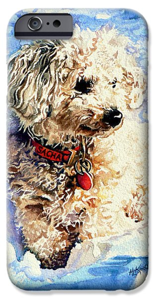 Dogs In Snow. Paintings iPhone Cases - Sacha iPhone Case by Hanne Lore Koehler