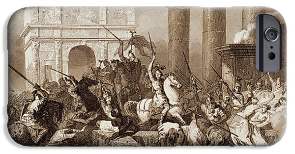 Lancer iPhone Cases - Sack Of Rome By The Visigoths Led By Alaric I In 410 iPhone Case by Bridgeman Images