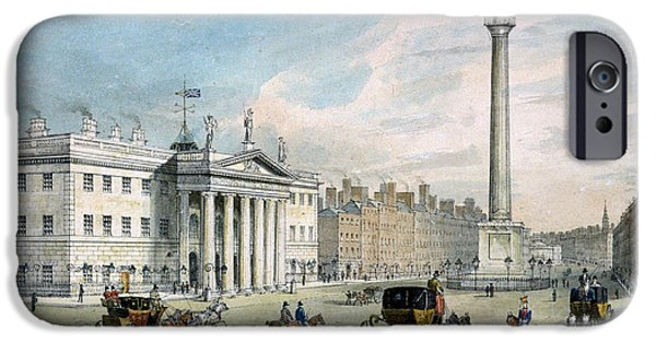 Carriages iPhone Cases - Sackville Street, Dublin, Showing The Post Office And Nelsons Column iPhone Case by Samuel Frederick Brocas