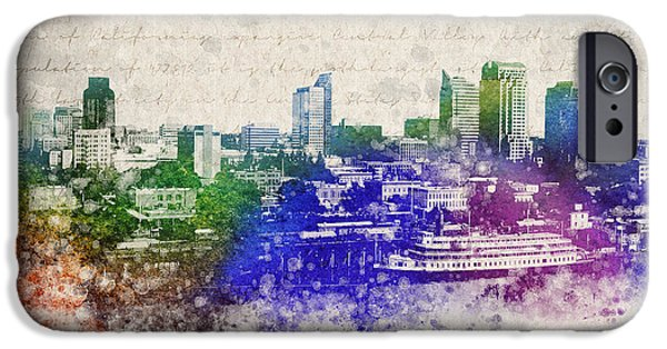 Downtown Mixed Media iPhone Cases - Sacramento City Skyline iPhone Case by Aged Pixel