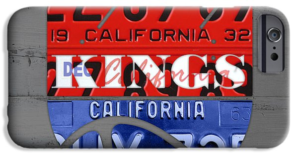 Basketball Team iPhone Cases - Sacramento Kings Basketball Team Retro Logo Vintage Recycled California License Plate Art iPhone Case by Design Turnpike
