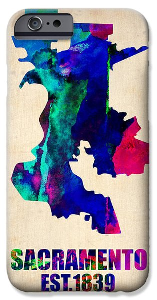California Map iPhone Cases - Sacramento Watercolor Map iPhone Case by Naxart Studio