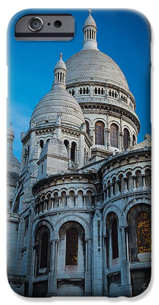 Christianity iPhone Cases - Sacre-Coeur at Night iPhone Case by Inge Johnsson