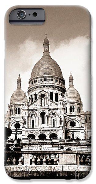 Basilica iPhone Cases - Sacre Coeur Basilica in Paris iPhone Case by Elena Elisseeva