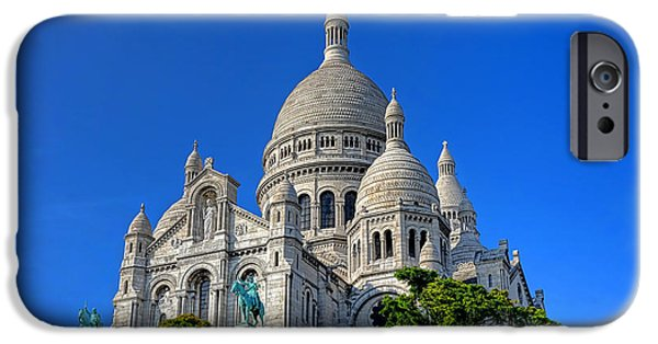 Byzantine iPhone Cases - Sacre Coeur Basilica iPhone Case by Olivier Le Queinec