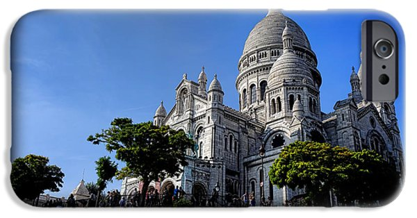 Byzantine iPhone Cases - Sacre Coeur on Butte Montmartre iPhone Case by Olivier Le Queinec