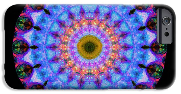 Mandalas iPhone Cases - Sacred Crown - Mandala Art By Sharon Cummings iPhone Case by Sharon Cummings
