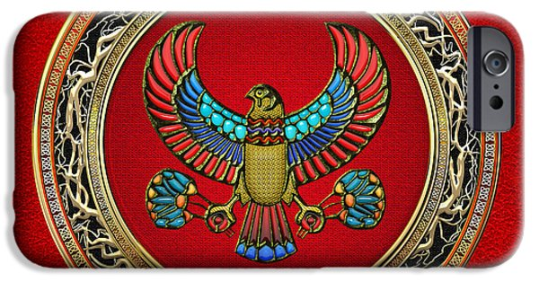 Horus Digital Art iPhone Cases - Sacred Egyptian Falcon iPhone Case by Serge Averbukh