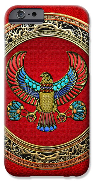 Horus iPhone Cases - Sacred Egyptian Falcon iPhone Case by Serge Averbukh