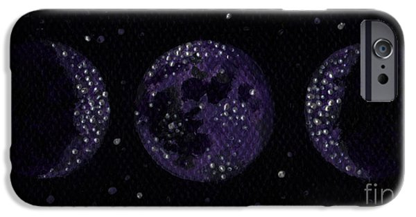 Gallery Sati iPhone Cases - Sacred Feminine Moon in Grape Sky iPhone Case by Shelley  Irish