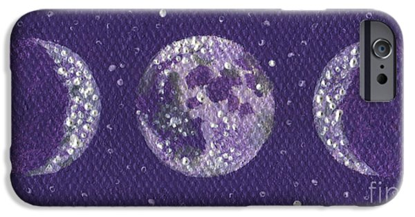 Gallery Sati iPhone Cases - Sacred Feminine Moon in Lavender Sky iPhone Case by Shelley  Irish