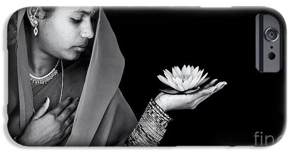 Indian Girl iPhone Cases - Sacred Flower iPhone Case by Tim Gainey