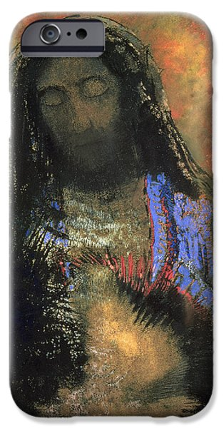 Modern Abstract Pastels iPhone Cases - Sacred Heart iPhone Case by Odilon Redon