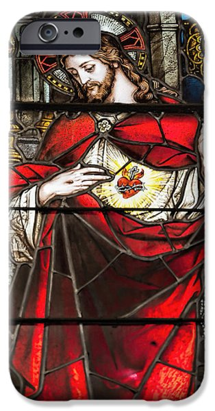 Son Of God Photographs iPhone Cases - Sacred Heart of Jesus iPhone Case by Bonnie Barry