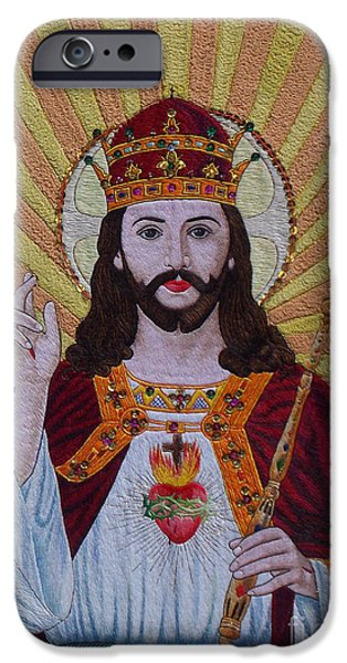 Jesus Tapestries - Textiles iPhone Cases - Sacred Heart of Jesus hand embroidery iPhone Case by To-Tam Gerwe