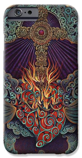 Folk Art Mixed Media iPhone Cases - Sacred Heart iPhone Case by Ricardo Chavez-Mendez