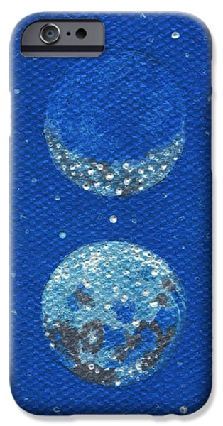 Gallery Sati iPhone Cases - Sacred Masculine Moon in Robins Egg Sky iPhone Case by Shelley  Irish