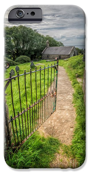 Walkway Digital Art iPhone Cases - Sacred Path iPhone Case by Adrian Evans