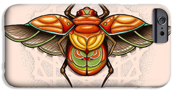 Tattoo Flash iPhone Cases - Sacred Scarab iPhone Case by Matt Truiano