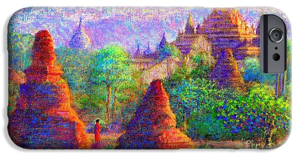 Buddhist iPhone Cases - Sacred Spires iPhone Case by Jane Small