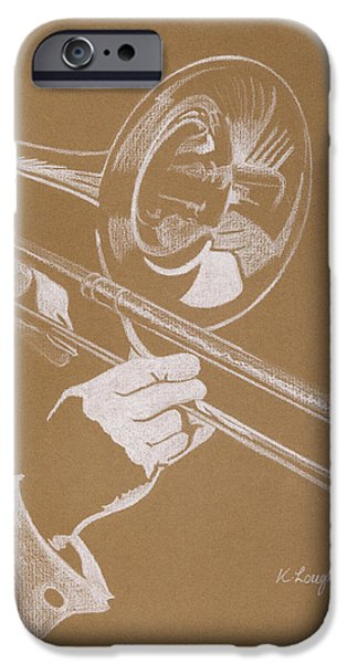 Music Pastels iPhone Cases - Sacred Trombone iPhone Case by Karen  Loughridge KLArt