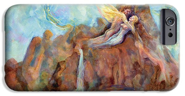Merging Paintings iPhone Cases - Sacred Union II iPhone Case by Shari Silvey