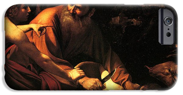 Patriarch iPhone Cases - Sacrifice of Issac iPhone Case by Caravaggio