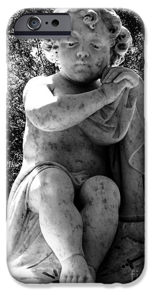 Usa Sculptures iPhone Cases - Sad Child Black and White iPhone Case by Nathan Little