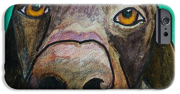Chocolate Lab iPhone Cases - Sad Eyes iPhone Case by Roger Wedegis