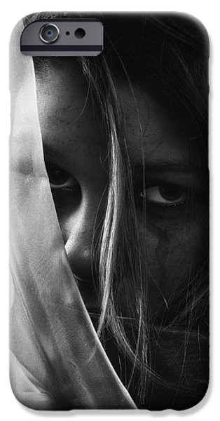 Problems iPhone Cases - Sad Girl BW iPhone Case by Erik Brede