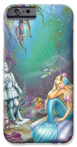Sad iPhone Cases - Sad Little Mermaid iPhone Case by Zorina Baldescu