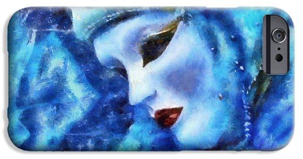 Figure iPhone Cases - Sad Masque iPhone Case by Lilia D