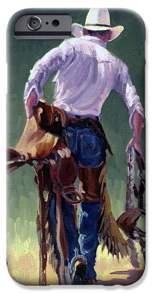 Saddle Bronc Rider iPhone Case by Randy Follis