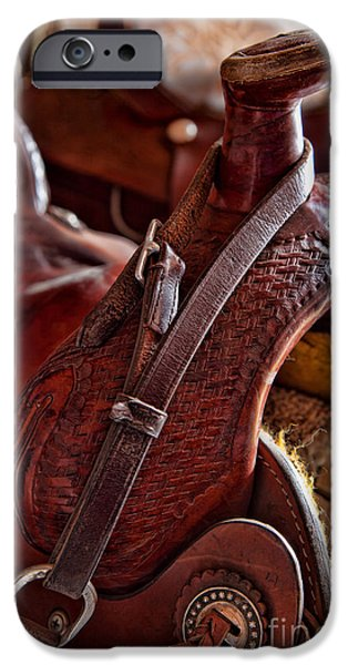 Straps iPhone Cases - Saddle in tack room iPhone Case by Inge Johnsson