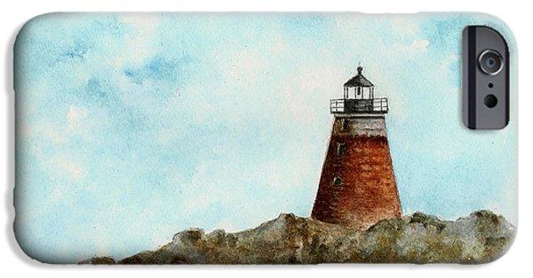 New England Lighthouse Paintings iPhone Cases - Saddleback Ledge Lighthouse iPhone Case by Michael Vigliotti