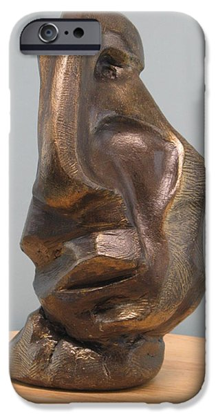 Person Sculptures iPhone Cases - Sadness iPhone Case by Nili Tochner