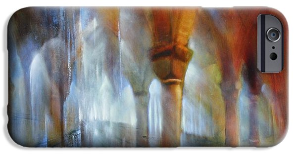 Church Pillars Paintings iPhone Cases - Saeulenhalle iPhone Case by Annette Schmucker