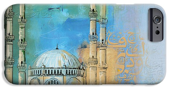 Abstract On Canvas Paintings iPhone Cases - Safa Mosque iPhone Case by Corporate Art Task Force