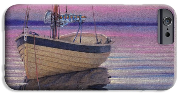 Sailboats Pastels iPhone Cases - Safe Harbor iPhone Case by Michael  Weber