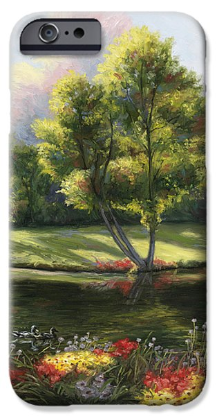Scenery Paintings iPhone Cases - Safe Haven 2 iPhone Case by Lucie Bilodeau
