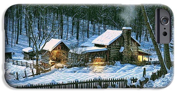 Log Cabin Digital iPhone Cases - Safe Haven iPhone Case by Mary Almond