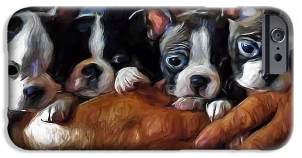 Puppy Digital Art iPhone Cases - Safe In The Arms Of Love - Puppy Art iPhone Case by Jordan Blackstone