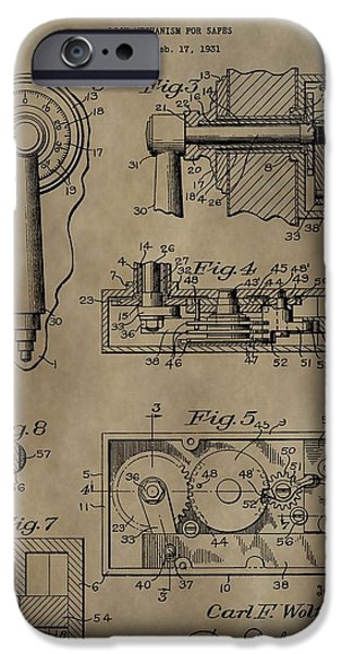 Mechanism Mixed Media iPhone Cases - Safe Lock Patent iPhone Case by Dan Sproul