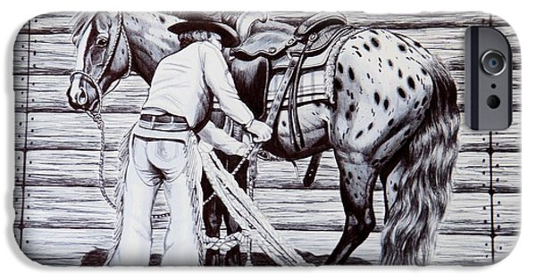 Drawing Of A Horse iPhone Cases - Safety First iPhone Case by Cheryl Poland